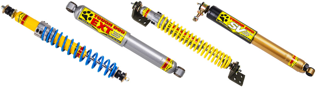 Four types of Tough Dog steering dampers