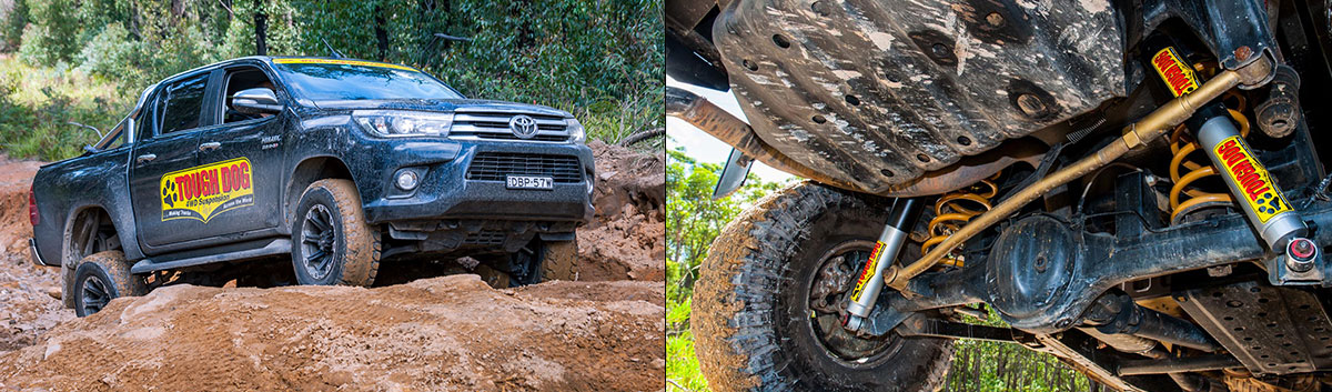 A Hilux with lift kit drives offroad. Undercarriage with lift kit displayed from below.